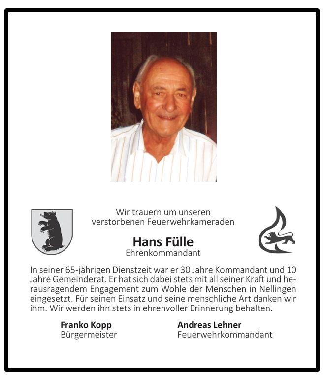 Nachruf Hans Fülle